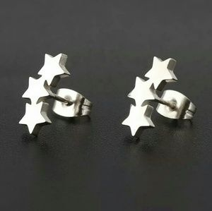 😍🆕316L stainless steel triple star studs
